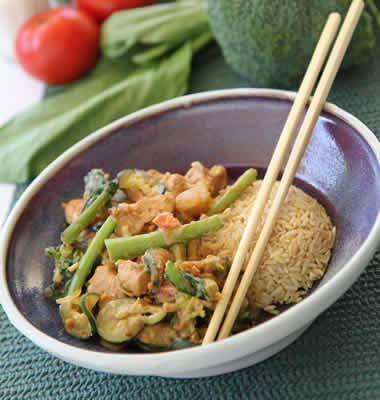 Tempeh satay with Asian greens
