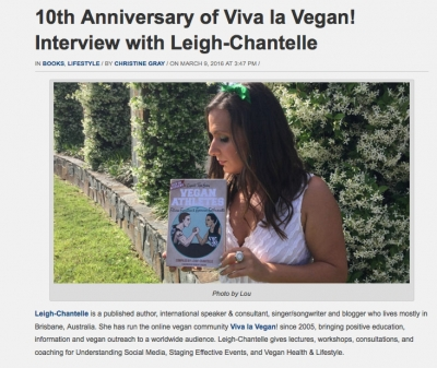 Vegan Magazine interview with Leigh Chantelle