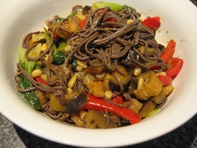 black soybean pasta with pine nuts